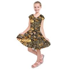 Queen Cup Honeycomb Honey Bee Kids  Short Sleeve Dress