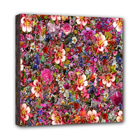 Psychedelic Flower Mini Canvas 8  X 8