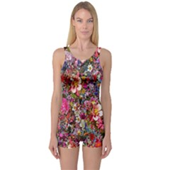 Psychedelic Flower One Piece Boyleg Swimsuit