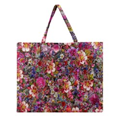 Psychedelic Flower Zipper Large Tote Bag by BangZart
