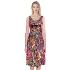 Psychedelic Flower Midi Sleeveless Dress