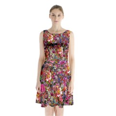 Psychedelic Flower Sleeveless Waist Tie Chiffon Dress