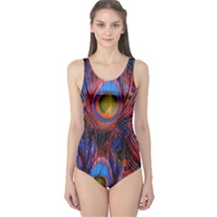 Pretty Peacock Feather One Piece Swimsuit