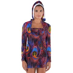 Pretty Peacock Feather Long Sleeve Hooded T Shirt