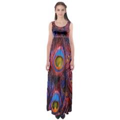 Pretty Peacock Feather Empire Waist Maxi Dress