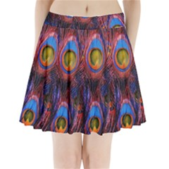 Pretty Peacock Feather Pleated Mini Skirt by BangZart
