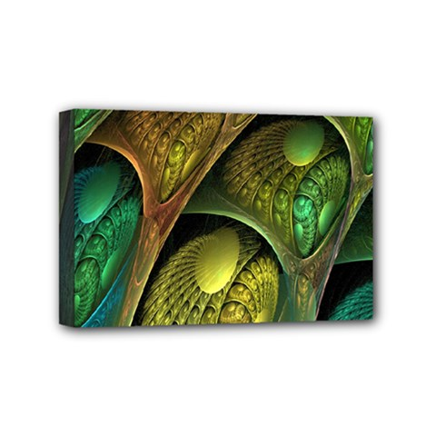 Psytrance Abstract Colored Pattern Feather Mini Canvas 6  X 4  by BangZart