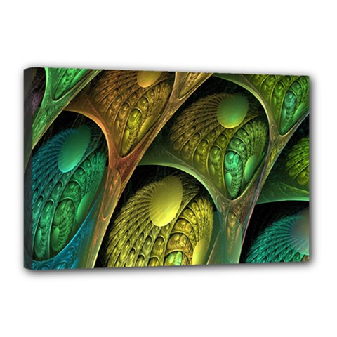 Psytrance Abstract Colored Pattern Feather Canvas 18  X 12  by BangZart