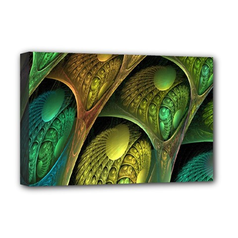 Psytrance Abstract Colored Pattern Feather Deluxe Canvas 18  X 12   by BangZart