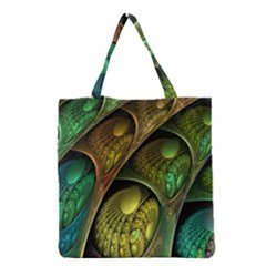 Psytrance Abstract Colored Pattern Feather Grocery Tote Bag by BangZart