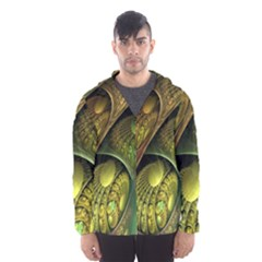 Psytrance Abstract Colored Pattern Feather Hooded Wind Breaker (men)