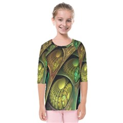 Psytrance Abstract Colored Pattern Feather Kids  Quarter Sleeve Raglan Tee