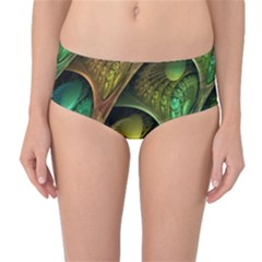 Psytrance Abstract Colored Pattern Feather Mid Waist Bikini Bottoms