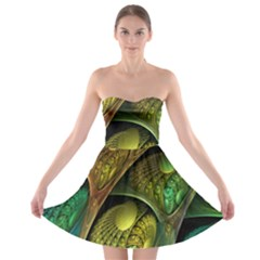 Psytrance Abstract Colored Pattern Feather Strapless Bra Top Dress