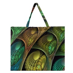 Psytrance Abstract Colored Pattern Feather Zipper Large Tote Bag