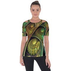 Psytrance Abstract Colored Pattern Feather Short Sleeve Top