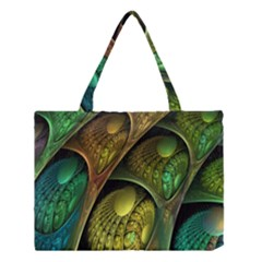Psytrance Abstract Colored Pattern Feather Medium Tote Bag by BangZart