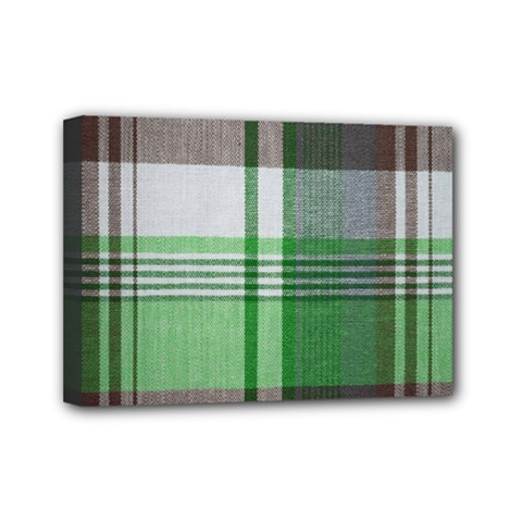 Plaid Fabric Texture Brown And Green Mini Canvas 7  X 5