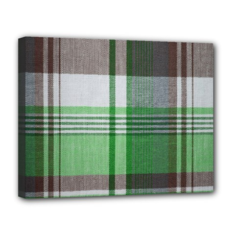 Plaid Fabric Texture Brown And Green Canvas 14  X 11