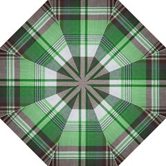 Plaid Fabric Texture Brown And Green Folding Umbrellas by BangZart