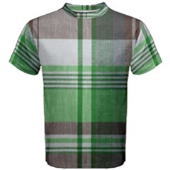 Plaid Fabric Texture Brown And Green Men s Cotton Tee by BangZart