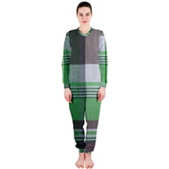 Plaid Fabric Texture Brown And Green Onepiece Jumpsuit (ladies)