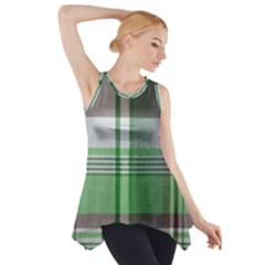 Plaid Fabric Texture Brown And Green Side Drop Tank Tunic