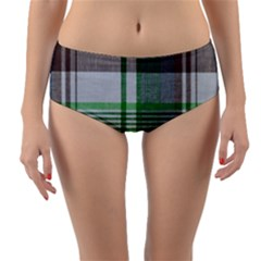 Plaid Fabric Texture Brown And Green Reversible Mid Waist Bikini Bottoms
