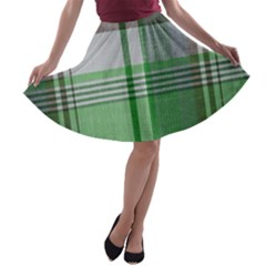 Plaid Fabric Texture Brown And Green A Line Skater Skirt