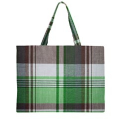 Plaid Fabric Texture Brown And Green Zipper Large Tote Bag by BangZart