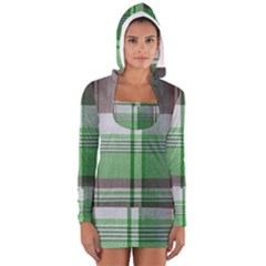 Plaid Fabric Texture Brown And Green Long Sleeve Hooded T Shirt