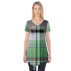 Plaid Fabric Texture Brown And Green Short Sleeve Tunic