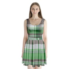 Plaid Fabric Texture Brown And Green Split Back Mini Dress