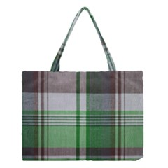 Plaid Fabric Texture Brown And Green Medium Tote Bag by BangZart
