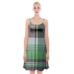 Plaid Fabric Texture Brown And Green Spaghetti Strap Velvet Dress