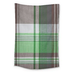 Plaid Fabric Texture Brown And Green Large Tapestry