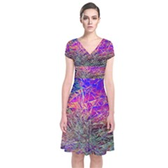 Poetic Cosmos Of The Breath Short Sleeve Front Wrap Dress