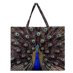Peacock Zipper Large Tote Bag by BangZart