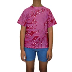 Pink Circuit Pattern Kids  Short Sleeve Swimwear
