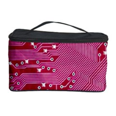 Pink Circuit Pattern Cosmetic Storage Case by BangZart