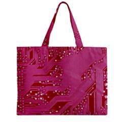 Pink Circuit Pattern Zipper Mini Tote Bag