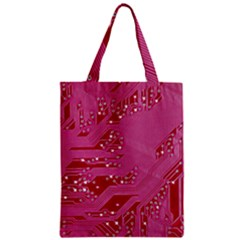 Pink Circuit Pattern Zipper Classic Tote Bag