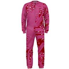 Pink Circuit Pattern Onepiece Jumpsuit (men)