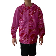 Pink Circuit Pattern Hooded Wind Breaker (kids)