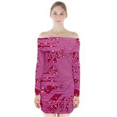 Pink Circuit Pattern Long Sleeve Off Shoulder Dress