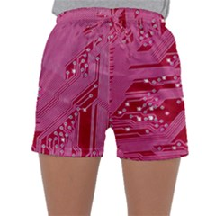 Pink Circuit Pattern Sleepwear Shorts