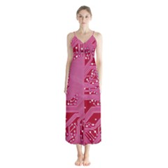 Pink Circuit Pattern Button Up Chiffon Maxi Dress by BangZart