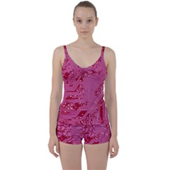 Pink Circuit Pattern Tie Front Two Piece Tankini