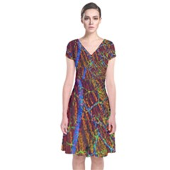 Neurobiology Short Sleeve Front Wrap Dress