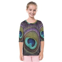 Peacock Feather Kids  Quarter Sleeve Raglan Tee